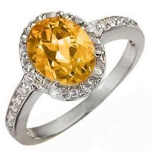 2.10 ctw Citrine & Diamond Ring 14k White Gold -