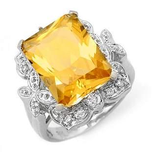 9.25 ctw Citrine & Diamond Ring 14k White Gold -