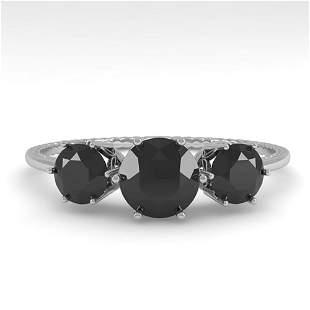 1 ctw Past Present Future Black Diamond Ring 18k White