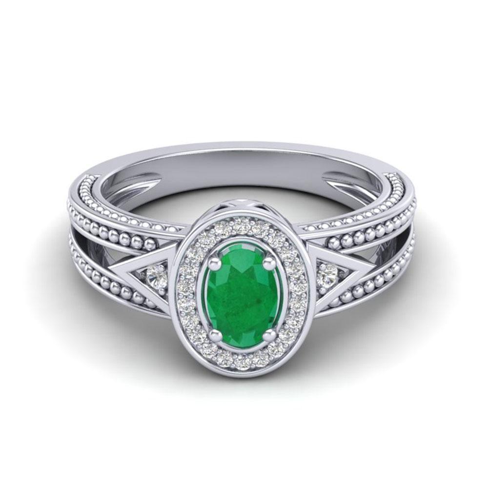 0.83 ctw Emerald & VS/SI Diamond Halo Fashion Ring 10k