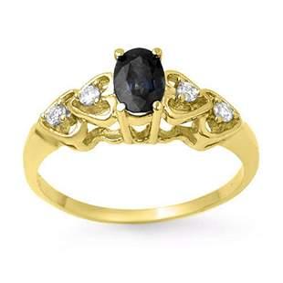 0.57 ctw Blue Sapphire & Diamond Ring 10k Yellow Gold -