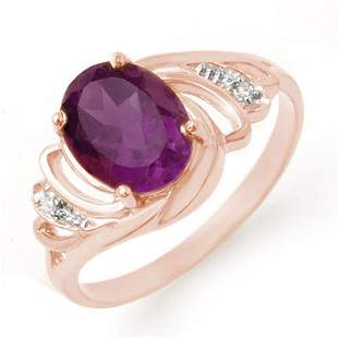 1.48 ctw Amethyst & Diamond Ring 14k Rose Gold -