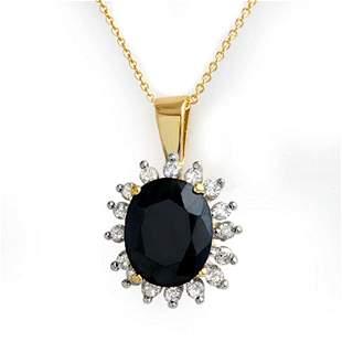 5.20 ctw Blue Sapphire & Diamond Pendant 10k Yellow