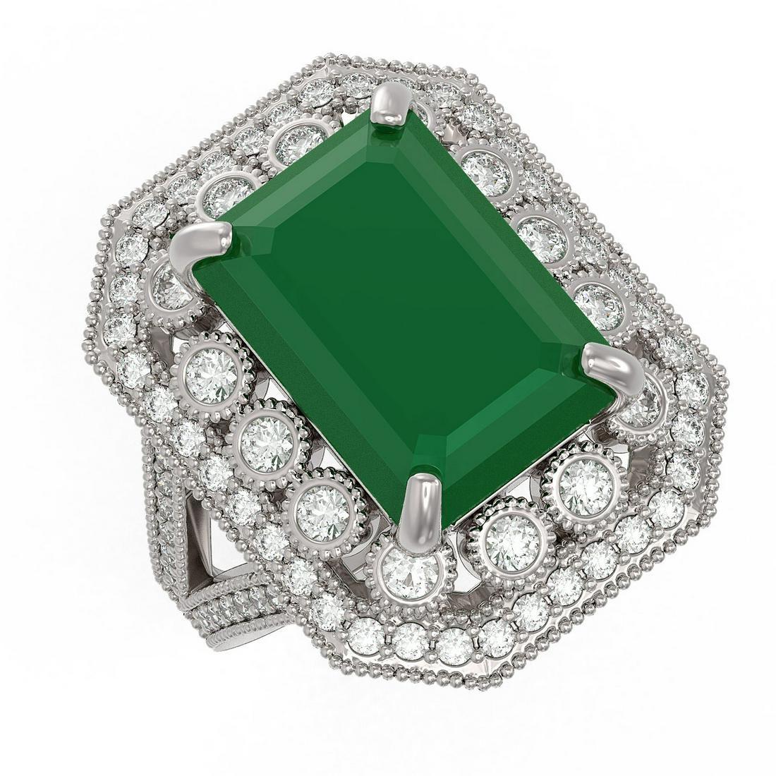 11.98 ctw Certified Emerald & Diamond Victorian Ring