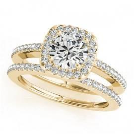 0.92 ctw Certified VS/SI Diamond 2pc Wedding Set Halo