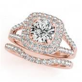 1.54 ctw Certified VS/SI Diamond 2pc Wedding Set Halo