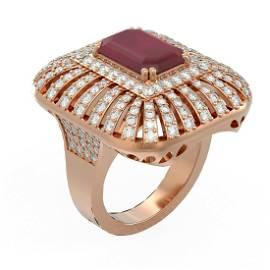 8.52 ctw Ruby & Diamond Ring 18K Rose Gold - REF-384X4A
