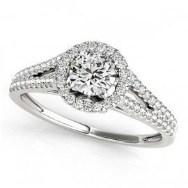0.8 ctw Certified VS/SI Diamond Halo Ring 18k White