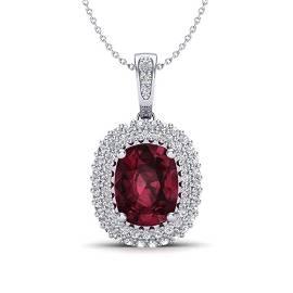 2.60 ctw Garnet & Micro Pave VS/SI Diamond Necklace 10k