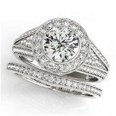 2.32 ctw Certified VS/SI Diamond 2pc Wedding Set Halo