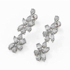 4.78 ctw Mix Cut Diamonds Designer Earrings 18K White