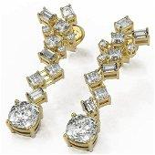 4 ctw Cushion Cut Diamond Designer Earrings 18K Yellow
