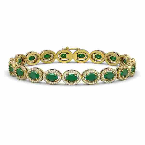 15.2 ctw Emerald & Diamond Micro Pave Halo Bracelet 10k