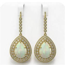 21.54 ctw Certified Opal & Diamond Victorian Earrings