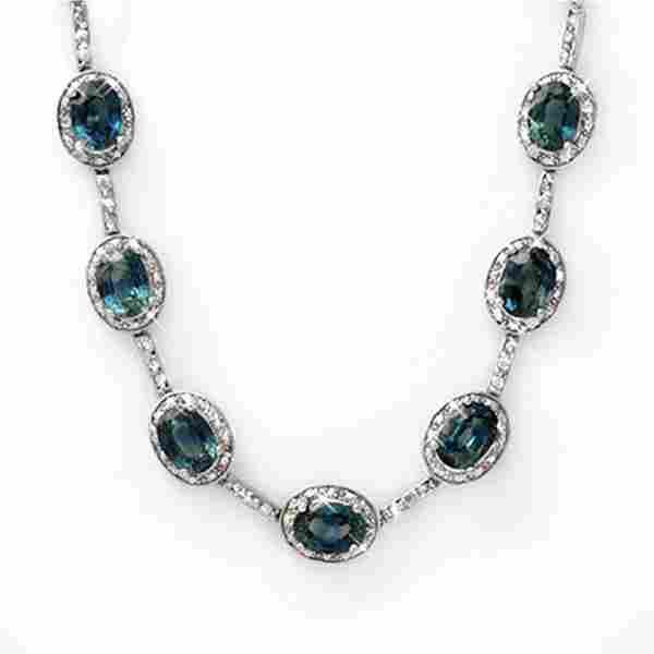 31.0 ctw Blue Sapphire & Diamond Necklace 10k White
