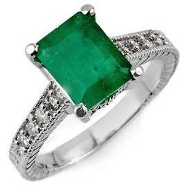 2.75 ctw Emerald & Diamond Antique Ring 18k White Gold
