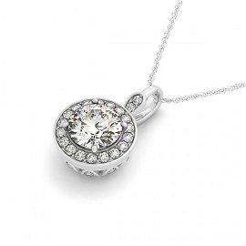 0.75 ctw Certified SI Diamond Halo Necklace 14k White