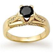 1.18 ctw VS Black & White Diamond Ring 14k Yellow Gold