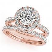 2.29 ctw Certified VS/SI Diamond 2pc Wedding Set Halo