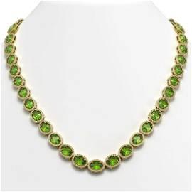 48.14 ctw Peridot & Diamond Micro Pave Halo Necklace