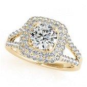 1.35 ctw Certified VS/SI Diamond Halo Ring 18k Yellow