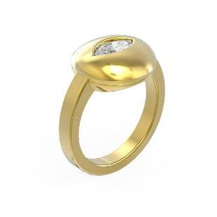 0.52 ctw Marquise Diamond Ring 18K Yellow Gold -