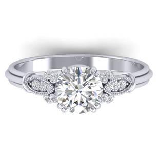 1.15 ctw Certified VS/SI Diamond Art Deco Ring 14k