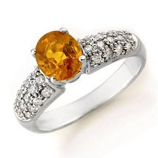 3.03 ctw Yellow Sapphire & Diamond Ring 14k White Gold