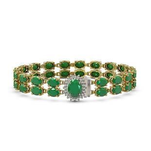 30.12 ctw Emerald & Diamond Bracelet 14K Yellow Gold -