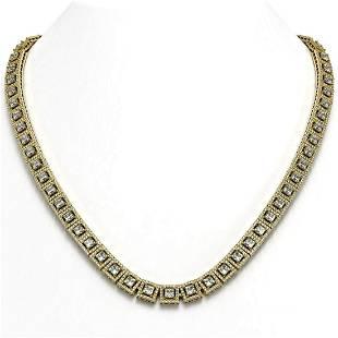 28.67 ctw Princess Cut Diamond Micro Pave Necklace 18K