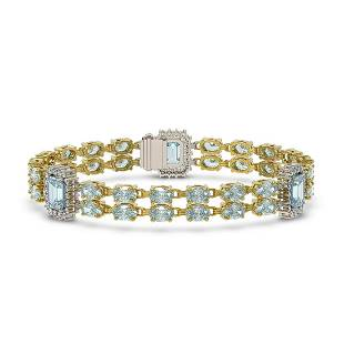 15.45 ctw Aquamarine & Diamond Bracelet 14K Yellow Gold