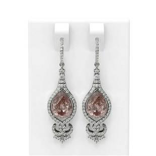 7.03 ctw Morganite & Diamond Earrings 18K White Gold -