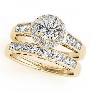1.71 ctw Certified VS/SI Diamond 2pc Wedding Set Halo