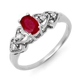 0.57 ctw Ruby & Diamond Ring 18k White Gold - REF-22R3K