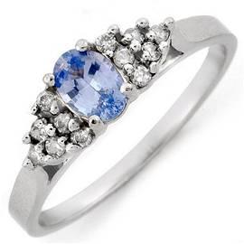 0.74 ctw Blue Sapphire & Diamond Ring 18k White Gold -