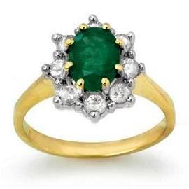 1.80 ctw Emerald & Diamond Ring 10k Yellow Gold -