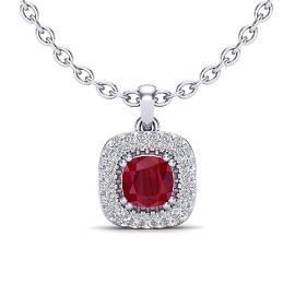 1.08 ctw Ruby & Micro VS/SI Diamond Necklace Halo 18k