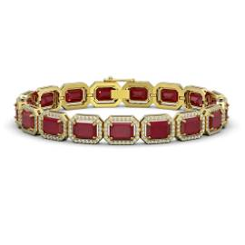 26.21 ctw Ruby & Diamond Micro Pave Halo Bracelet 10k
