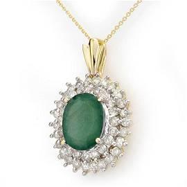10.11 ctw Emerald & Diamond Pendant 14k Yellow Gold -
