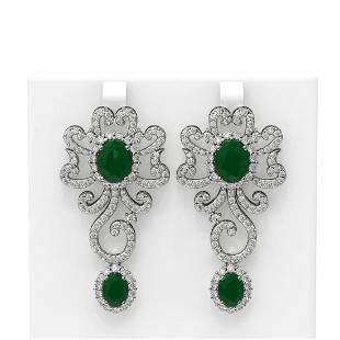 16.75 ctw Emerald & Diamond Earrings 18K White Gold -