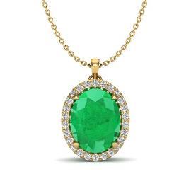 2.75 ctw Emerald & Micro VS/SI Diamond Halo Necklace