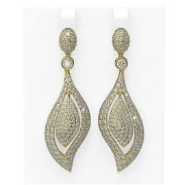 10.12 ctw Diamond Earrings 18K Yellow Gold - REF-687F3M