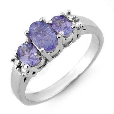 Genuine 0.99ctw Tanzanite & Diamond Ring 10K White Gold