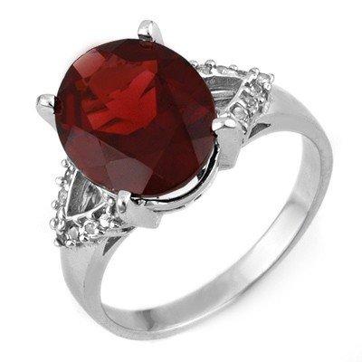 Genuine 6.20 ctw Garnet & Diamond Ring 10K White Gold -