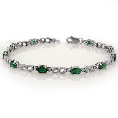 Genuine 3.01 ctw Emerald & Diamond Bracelet White Gold