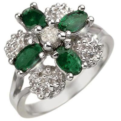 Genuine 1.08 ctw Emerald & Diamond Ring 10K White Gold