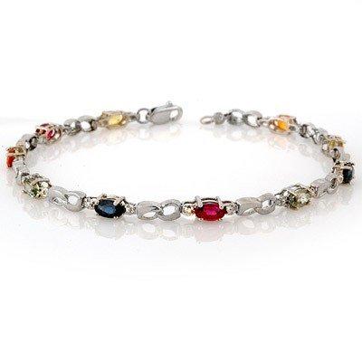 Genuine 3.51 ctw Multi-Sapphire & Diamond Bracelet Gold