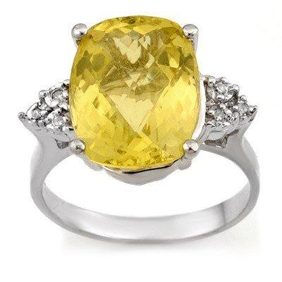 Genuine 6.10 ctw Lemon Topaz & Diamond Ring 10K Gold -