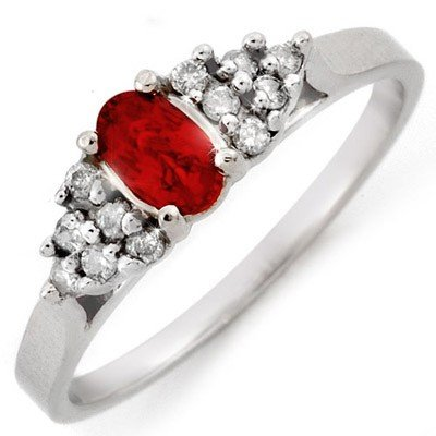 Genuine 0.50 ctw Red Sapphire & Diamond Ring 10K Gold -