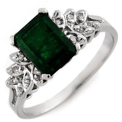 Genuine 2.12 ctw Emerald & Diamond Ring 10K White Gold